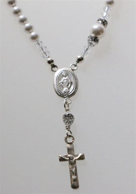 swarovski white pearl catholic rosary necklace in sterling