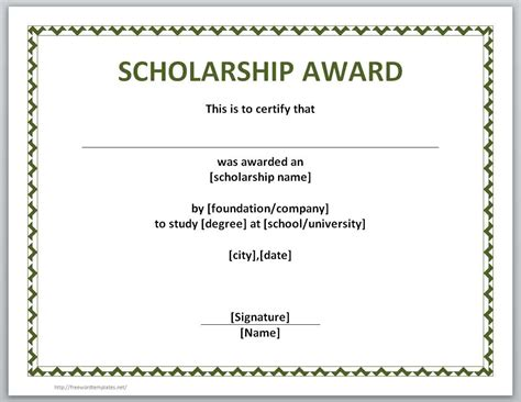 scholarship award template 13 free certificate templates for word microsoft and