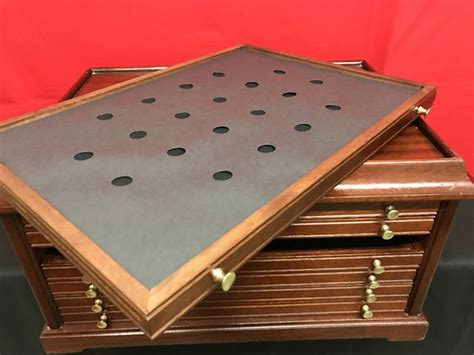 Coin Drawers by Coin Holder In Solid Wood 6 Drawers Brass Catawiki