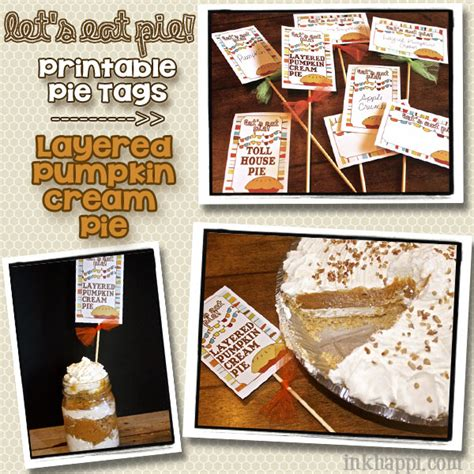 printable pie recipes layered pumpkin cream pie and pie tags inkhappi