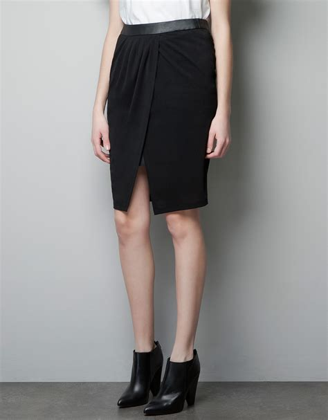 zara skirt with faux leather lining in black lyst