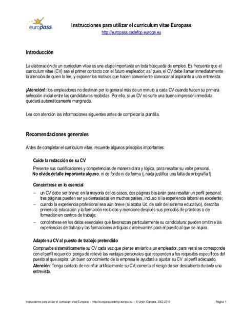 Formato Curriculum Vitae Union Europea Cv