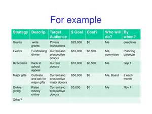 fundraising policy template for exlestrategy descrip target