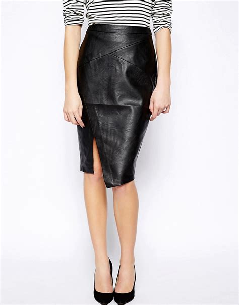 oasis oasis leather look wrap pencil skirt at asos