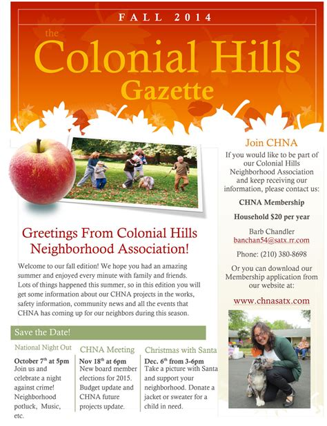 our colonial hills neighborhood association fall