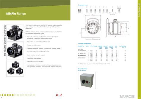 manrose mf100t 100mm 4 quot inline mixflo duct fan order