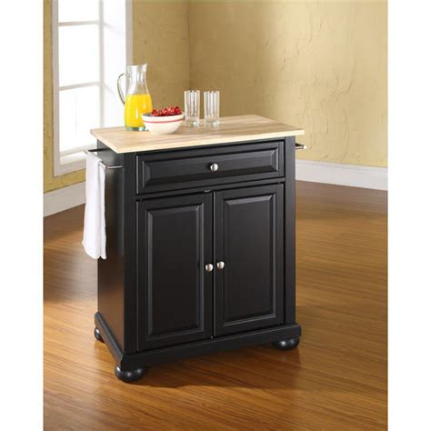 white kitchen island with natural top crosley furniture alexandria natural wood top portable