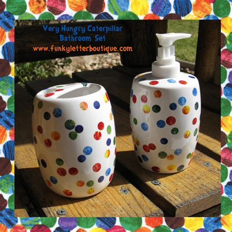 polka dot bathroom sets very hungry caterpillar polka dot bathroom soap pump and
