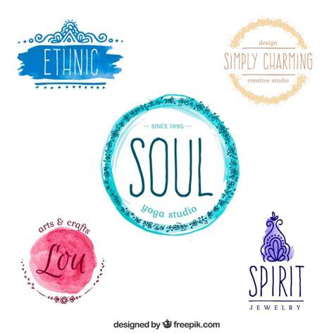 yoga imagenes logos set de logos de yoga de acuarela descargar vectores gratis
