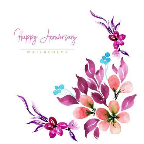 Watercolor floral happy anniversary background Vector