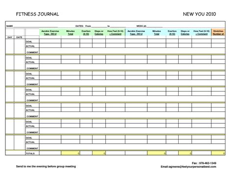 fitness journal template printable search results for weekly food journal template