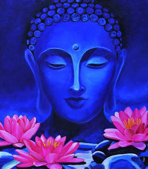 buddha and lotus buddha and lotus flowers painting by bharathan