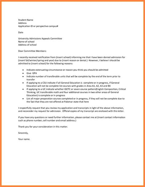 College Admissions Decisions Appeal Letter Sles sle letter for reconsideration school admission