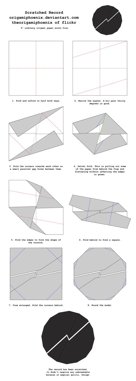 origami records origami scratched record diagrams by origamiphoenix on