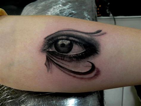 tattoo eyes black forearm black and grey eye of horus chronic ink