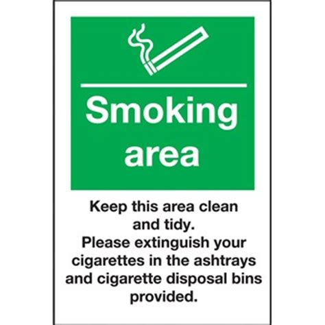 Casual Dining Room Furniture Smoking Area Keep Clean Use Ashtrays Sign 518451
