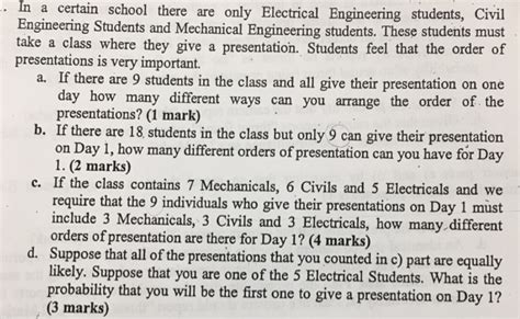 last day of classes electrical and computer engineering solved in a certain school there are only electrical engi 4761