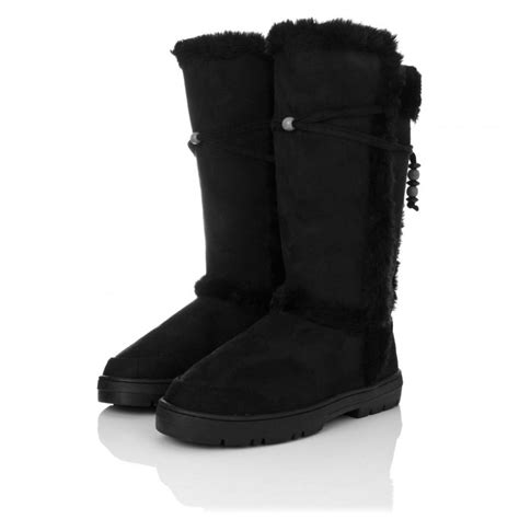 buy flat winter ella boots black suede style