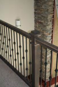 Oak stair railing amp iron balusters justin doyle homes