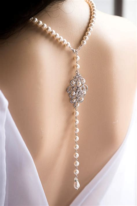 Wedding Backdrop Necklace by Bridal Backdrop Necklace And Swarovski Pearl