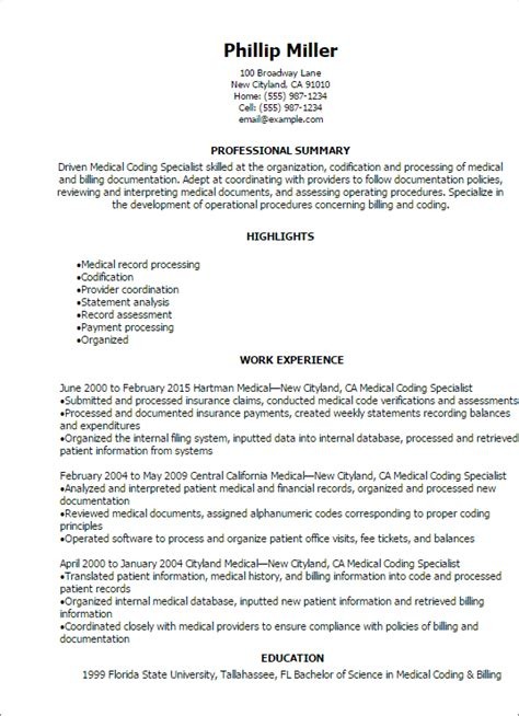 resume medical coder resume sample