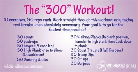 are you up for the quot 300 quot workout wholistics