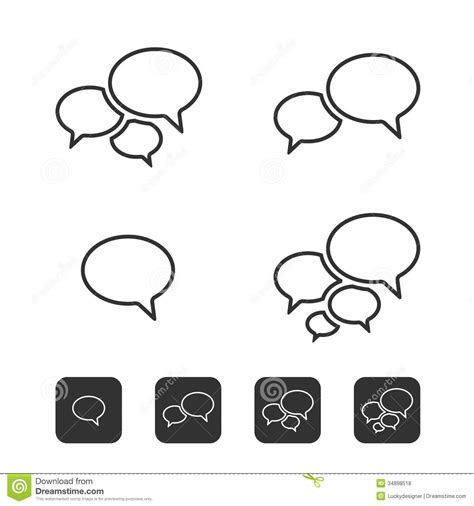 trendy thin icons with speech bubbles set stock vector