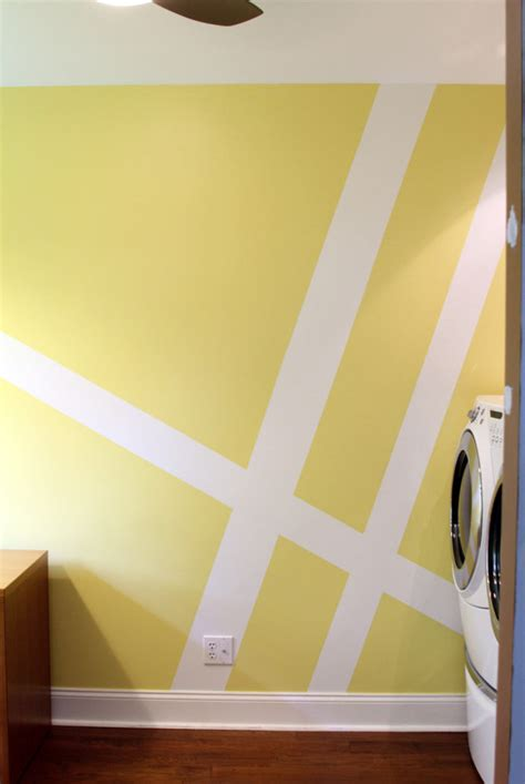 paint design geometric wall mural laundry room makeover design milk