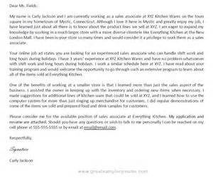 writing a cover letter for a sales support associate