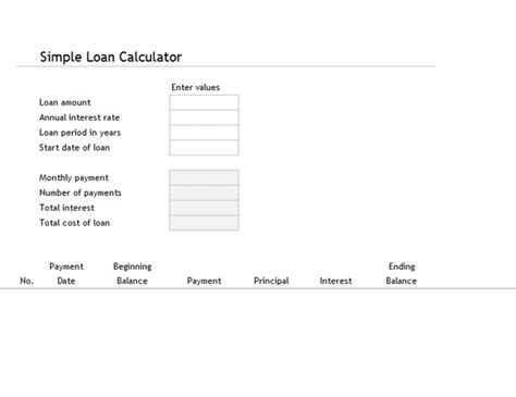 Loan Calculator And Amortization Table Simple Interest Loan Template