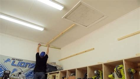 drop storage in ceiling diy garage storage shelves to maximize space diy projects