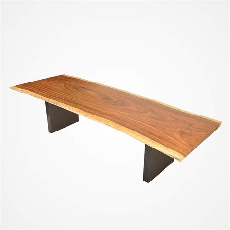 Dining Table Bases Wood Live Edge Tamburil Wood Dining Table Powder Coated Metal Base Rotsen Furniture