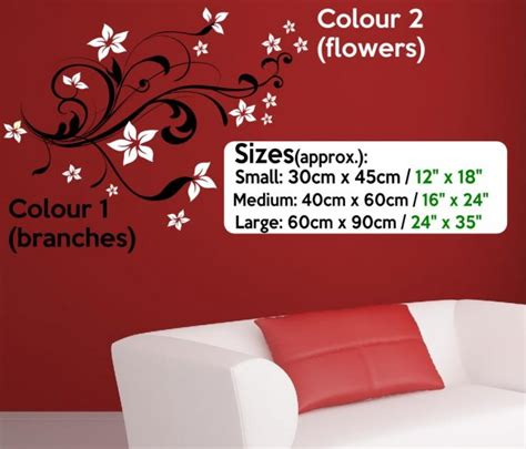 Wall Sticker Decor Ornament Uk 60 X 90 flowers vinyl wall sticker decorations mural decal