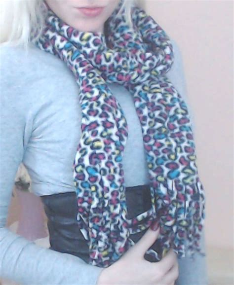 Handmade Fleece Scarves - s s handmade fleece leopard neon rainbow winter