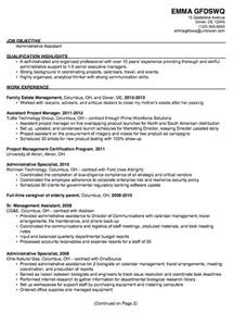 Resume Objectives For Administrative Assistants Exles by Administrative Assistant Resume Resume Sles Resume Templates Cover Letters