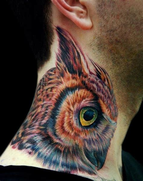 owl neck tattoo owl tattoos and designs that are actually amazing