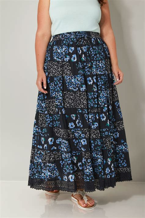9809 Maxi Denim navy floral print tiered maxi skirt with lace trim hem