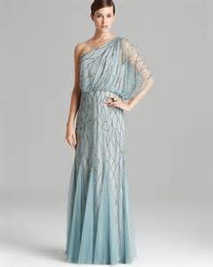 Adrianna papell gown one shoulder blouson with beaded mesh in blue