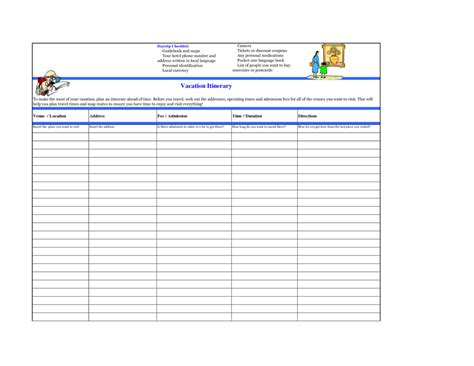 excellent itinerary planner table template for travel or