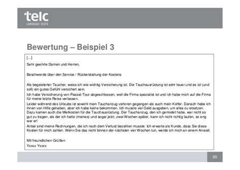 Anfrage Brief B2 Beispiel Bewertung Des Schriftlichen Ausdrucks Telc B1 Und Telc Deuts