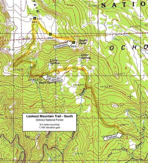 map of oregon lookouts lookout mountain trail south end