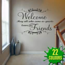 Living Room Sticker Quotes Welcome May All Who Come V1 Wall Decal Sticker Quote