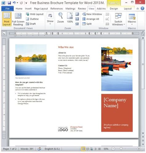 Free Business Brochure Template For Word 2013 Free Brochure Templates For Word
