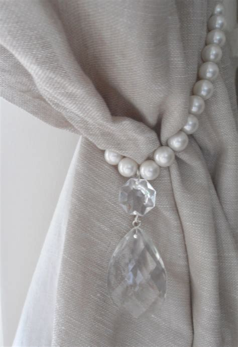 drape tie backs set of 2 decorative curtain tiebacks faux pearls vintage