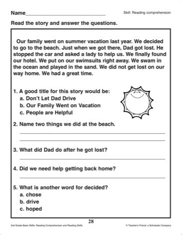 the best seat in second grade comprehension questions 13 best images of weather reading comprehension worksheet