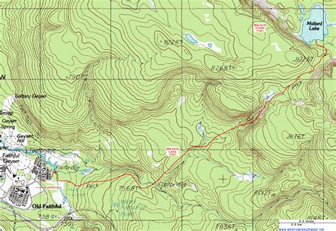 topographical map of topographic map of the mallard lake trail yellowstone