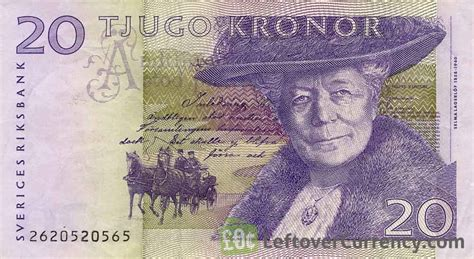 currency sek 20 swedish kronor selma lagerlof exchange yours for