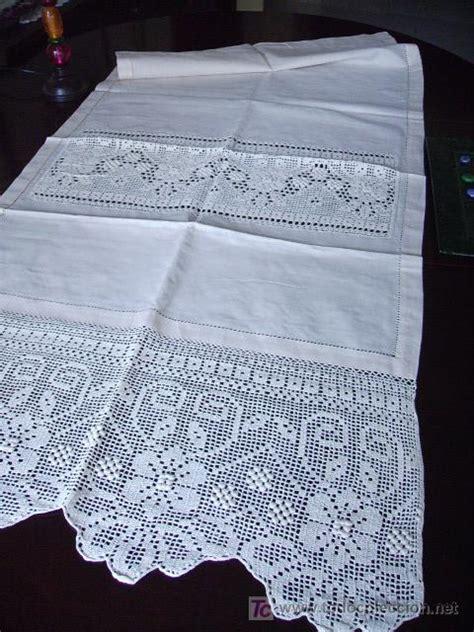 precioso panel cortina lino ganchillo  manobe comprar cortinas antiguas en todocoleccion
