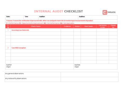 15 Internal Audit Checklist Templates Sles Exles Formats Form Audit Checklist Template Excel