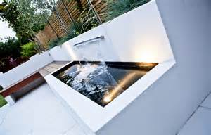 modern water feature long thin garden design family garden design